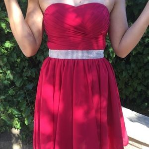 Women's Lace Up High Low Chiffon Formal Red Dress